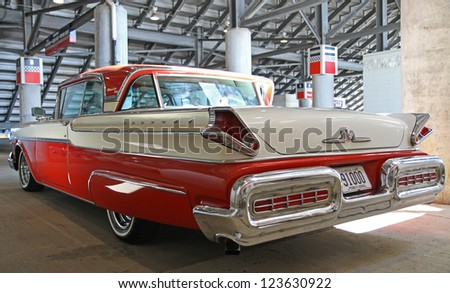 CONCORD, NC - SEPTEMBER 22:  A 1957 Mercury Turnpike Cruiser on display at the Charlotte AutoFair classic car show at Charlotte Motor Speedway in Concord, North Carolina, September 22, 2012. - stock photo