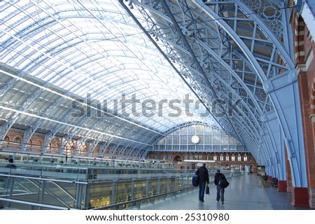 Concourse in the international rail terminal at Saint Pancras in London, England