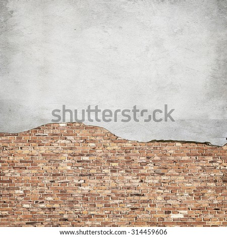 concrete and brick wall texture urban background - stock photo
