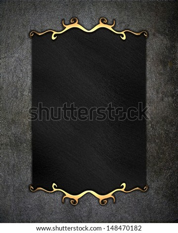 Concrete background with black nameplate for writing and gold trim