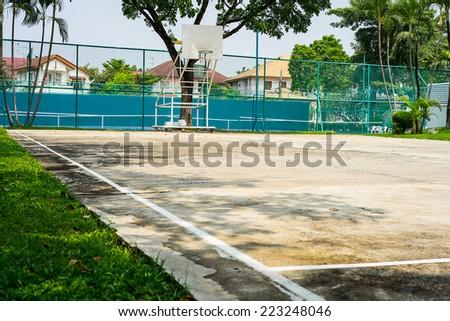 Concrete Basketball Court - stock photo
