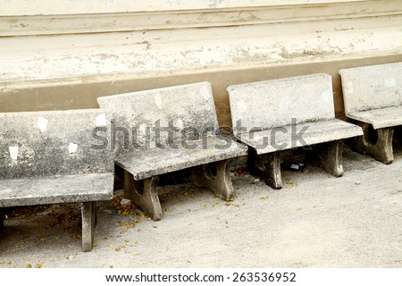 Concrete bench in the temple - stock photo