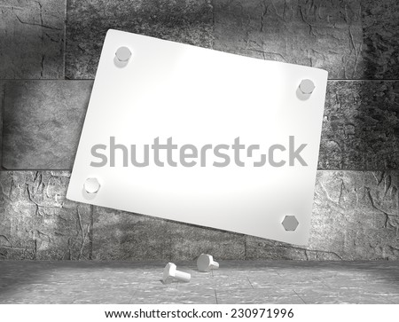 concrete blocks empty room with clear outline colorado state map attached to wall by bolts - stock photo