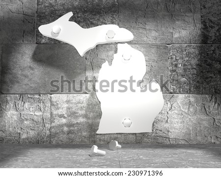 concrete blocks empty room with clear outline michigan state map attached to wall by bolts - stock photo