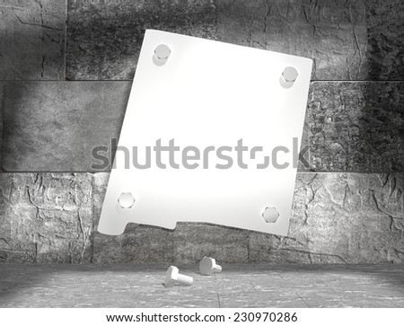 concrete blocks empty room with clear outline new mexico state map attached to wall by bolts - stock photo
