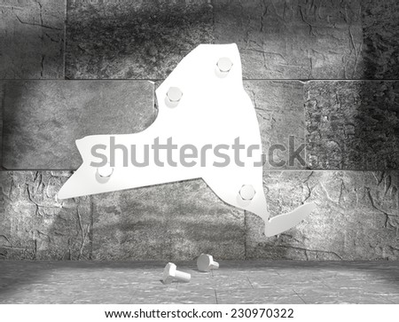 concrete blocks empty room with clear outline new york state map attached to wall by bolts - stock photo