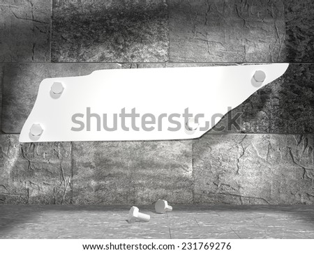 concrete blocks empty room with clear outline tennessee state map attached to wall by bolts - stock photo