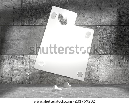 concrete blocks empty room with clear outline utah state map attached to wall by bolts - stock photo