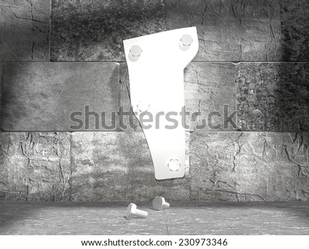 concrete blocks empty room with clear outline vermont state map attached to wall by bolts - stock photo
