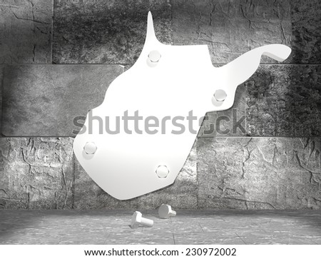 concrete blocks empty room with clear outline west virginia state map attached to wall by bolts - stock photo