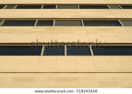 concrete blocks office building perspective wall and windows