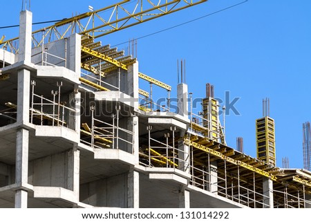 Concrete construction site of new building - stock photo