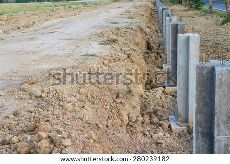 Concrete construction to prevent soil erosion - stock photo