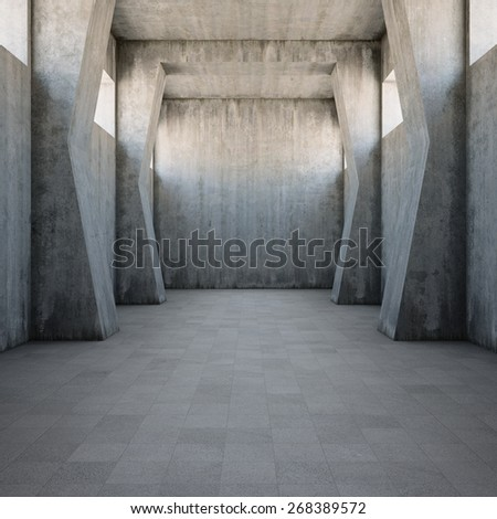 Concrete corridor with old worn walls - stock photo