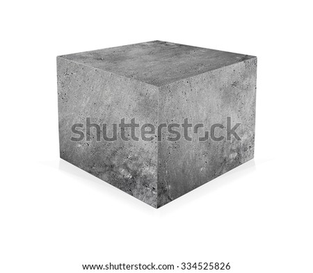Concrete cube isolated on white background. The concept of building - stock photo