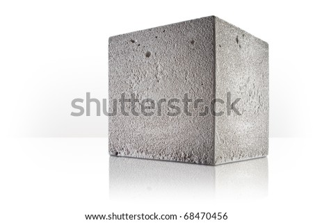 concrete cube over white background - stock photo