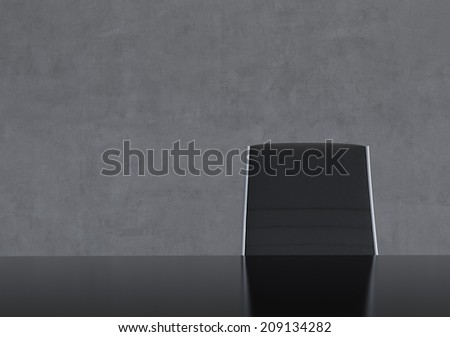 Concrete Dark Room with Chair and Table - stock photo