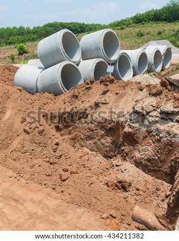 Concrete Drainage Pipe on a Construction Site at the road.Concrete pipe stacked sewage water system aligned on site.