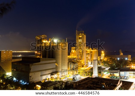 Concrete factory at night