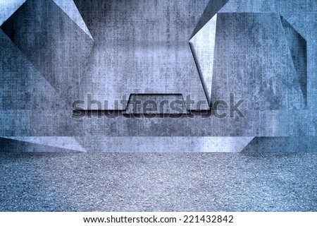 Concrete fiberboard wall with an industrial futuristic look. - stock photo