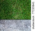 concrete floor and green grass - stock photo