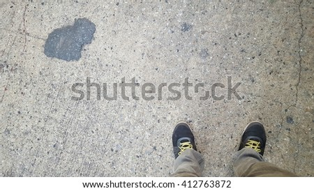 concrete floor pattern, design, with worker shoes background
