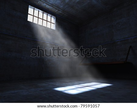 concrete grunge jail and light from window - stock photo