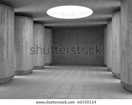 concrete hall - stock photo
