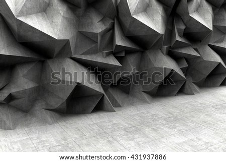 Concrete interior and gas mask, polygonal wall background. 3D rendering. - stock photo