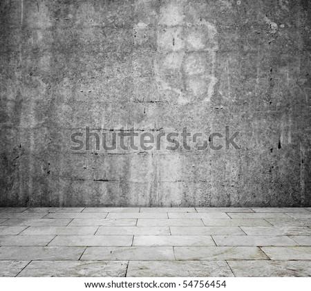 concrete interior - room - stock photo