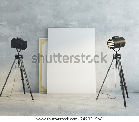 Concrete interior with professional lighting equipment and empty banner on wall. Gallery museum & Concrete Interior Professional Lighting Equipment Empty Stock ... azcodes.com