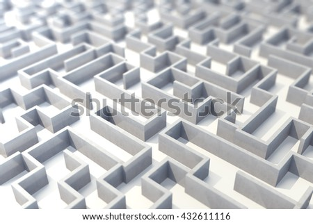 Concrete labyrinth, complex problem solving concept. 3d illustration - stock photo