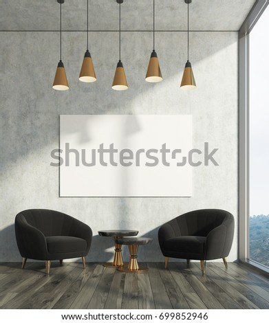 Concrete living room interior with concrete walls, two black armchairs and a coffee table, a poster. 3d rendering mock up