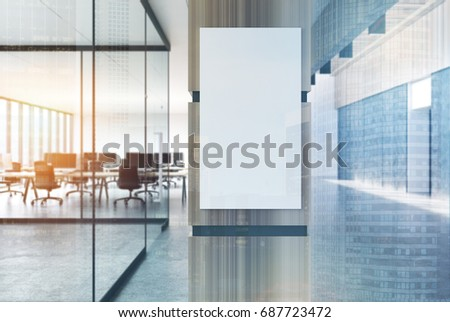 Concrete loft office lobby with a gray floor, white walls and wooden columns and rows of computer tables. Vertical poster. 3d rendering mock up toned image double exposure