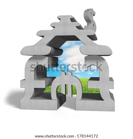 concrete money stacking house with beautiful landscape inside isolated in white background