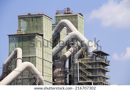 Concrete or cement factory, heavy industry or construction industry depiction.