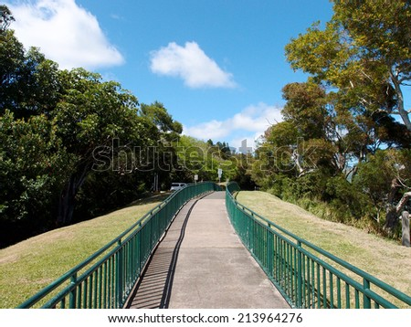 Concrete Path with Railings at the Ualaka'a lookout on Tantalus Mountain on Oahu, Hawaii. - stock photo