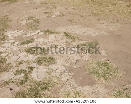 concrete pavement blocks with grass - stock photo