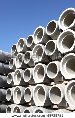 Concrete pipes - stock photo