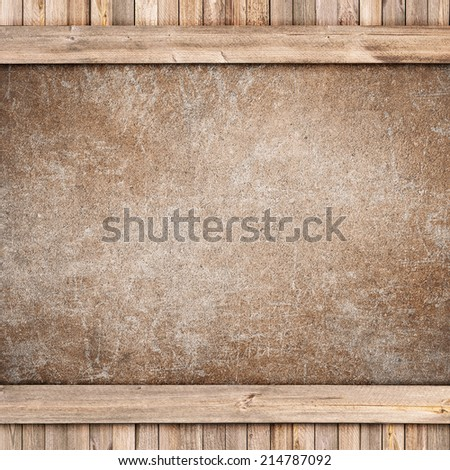 Concrete plate on wood background or texture