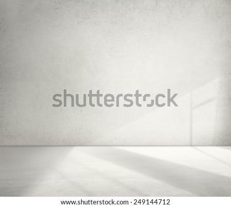Concrete Room Corner Shadow Cement Wallpaper Concept - stock photo
