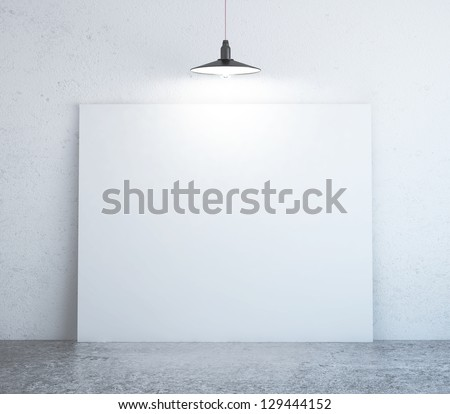 concrete room with poster on wall - stock photo