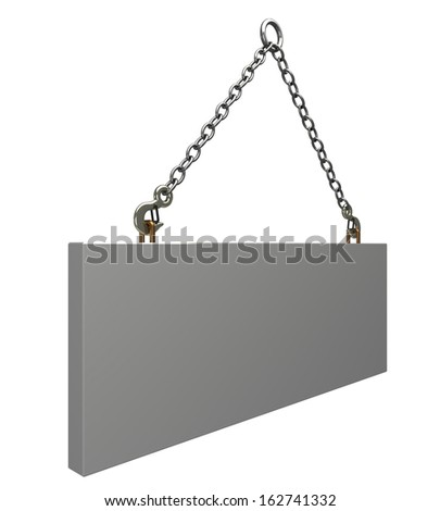 Concrete slab on metal hanging rope slings. isolated. a white background. 3d - stock photo