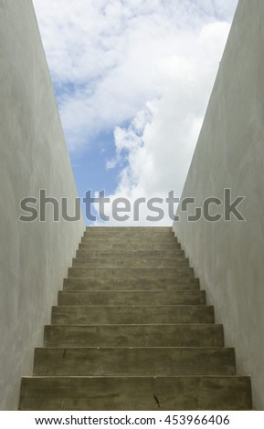 Concrete Stair to the sky background - stock photo