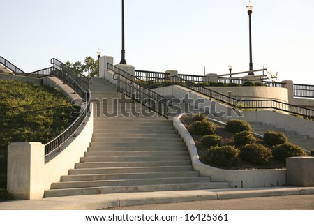concrete stairs leading to Lane Ave on Ohio State's campus in Columbus - stock photo