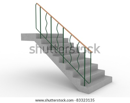 Concrete stairs with green railings on a white background ?2 - stock photo