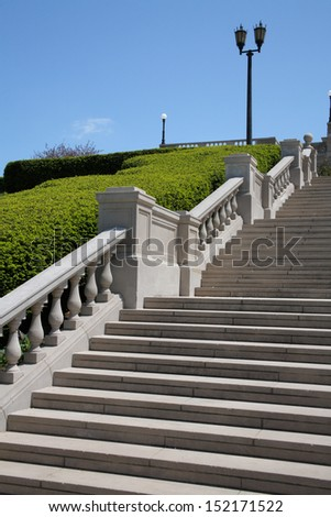 Concrete Stairway And Lamppost In A Beautiful Outdoor Setting, Ault Park, Cincinnati, Ohio, USA - stock photo