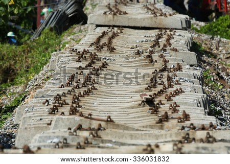 Concrete supporting of railway - stock photo