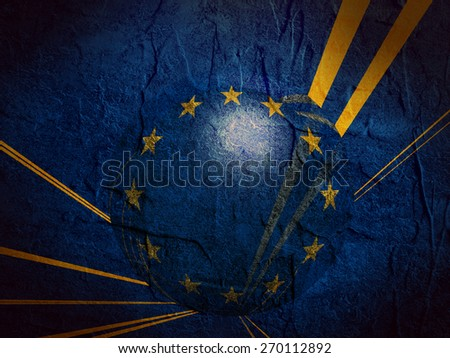 concrete textured wall and sphere textured by europe union flag - stock photo