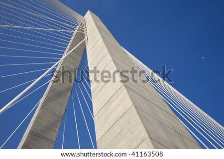 Concrete tower and cables of the Arthur Ravenel Jr Bridge, also known as the Cooper River Bridge. - stock photo